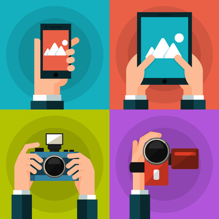 camera: Set of hands holding smart phone, tablet, video and photo camera. Flat style. Vector illustration in eps10