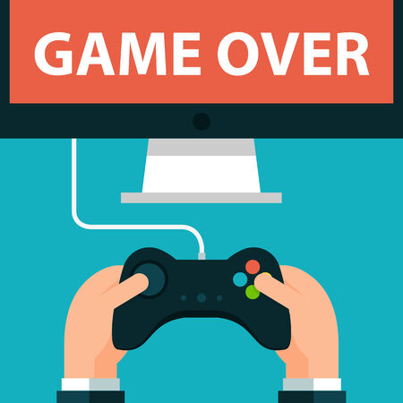 game over: Hands holding joystick and monitor screen Game over. Vector illustration in eps10