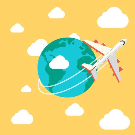 Vliegtuig reizen. Planeet. Vector illustratie in eps10