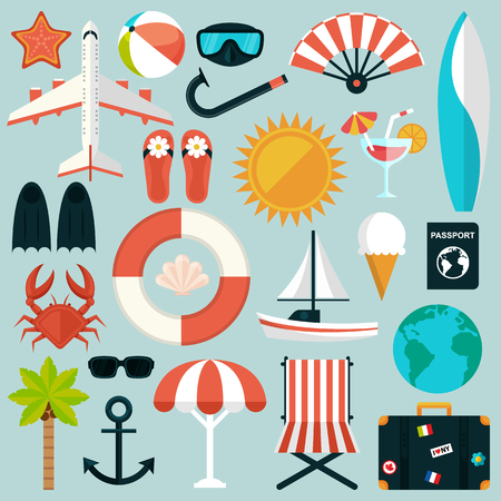 beach ball: Set of flat summer rest icons. Traveling, tourism, vacation theme. Vector illustration in eps10