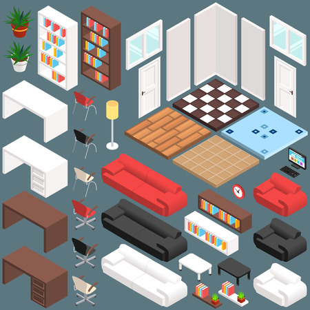 muebles de oficina: Isométrico Planificación Office. Kit de Creación del vector 3D. Ilustración vectorial de eps10