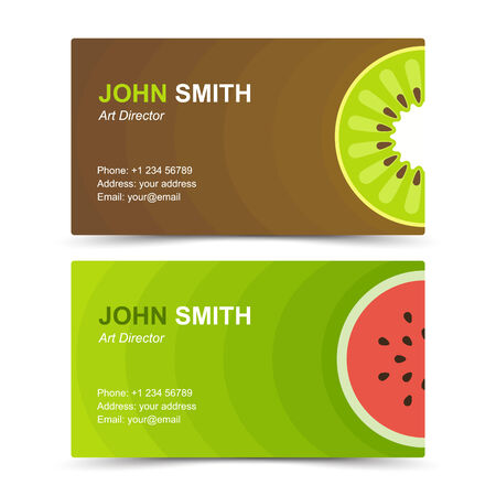 Business card set kiwi watermelon. Vector illustration in eps10 Vector