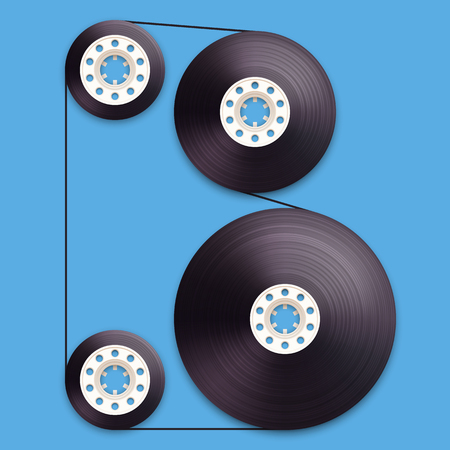 studio b: A vector illustration of a recordable babin of tape cassette. Letter B. Vector illustration in eps10
