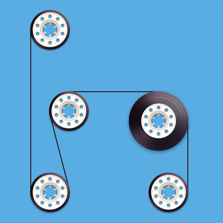 recordable: A vector illustration of a recordable babin of tape cassette. Letter H. Vector illustration in eps10