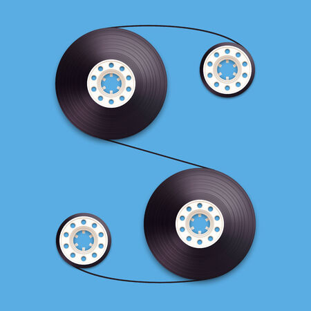 recordable: A vector illustration of a recordable babin of tape cassette. Letter S. Vector illustration in eps10
