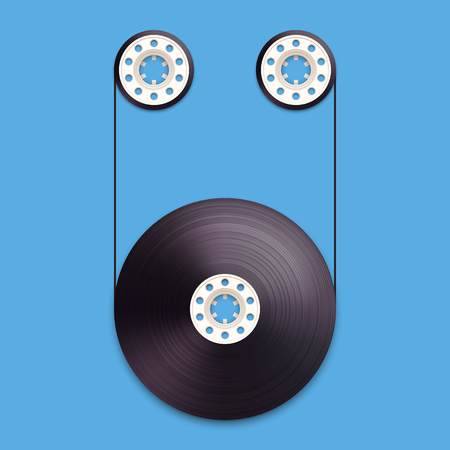 recordable: A vector illustration of a recordable babin of tape cassette. Letter U. Vector illustration in eps10