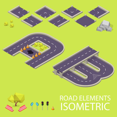 Road elements isometric. Road font. Letters A and B. Vector illustration in eps10