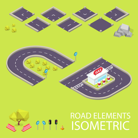 creation kit: Road elements isometric. Road font. Letters C and D. Vector illustration in eps10