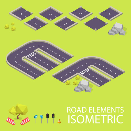 creation kit: Road elements isometric. Road font. Letters E and F. Vector illustration in eps10