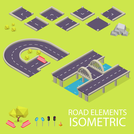 creation kit: Road elements isometric. Road font. Letters G and H. Vector illustration in eps10 Illustration