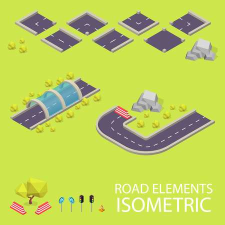 road tunnel: Road elements isometric. Road font. Letters I and J. Vector illustration in eps10
