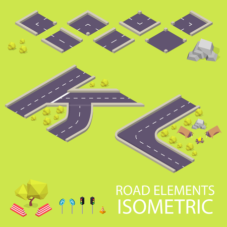 Road elements isometric. Road font. Letters K and L. Vector illustration in eps10