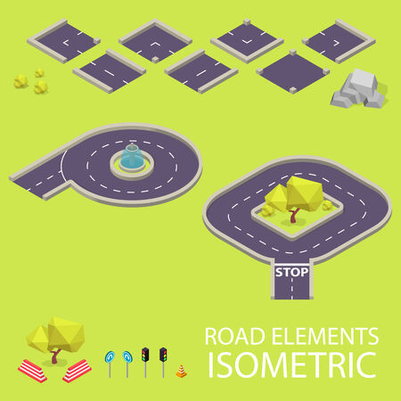 creation kit: Road elements isometric. Road font. Letters P and Q. Vector illustration in eps10