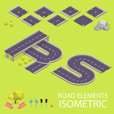 creation kit: Road elements isometric. Road font. Letters R and S. Vector illustration in eps10