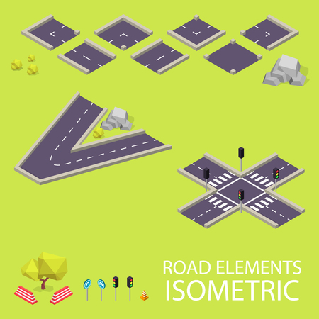 creation kit: Road elements isometric. Road font. Letters V and X. Vector illustration in eps10 Illustration