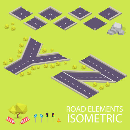 creation kit: Road elements isometric. Road font. Letters Y and Z. Vector illustration in eps10