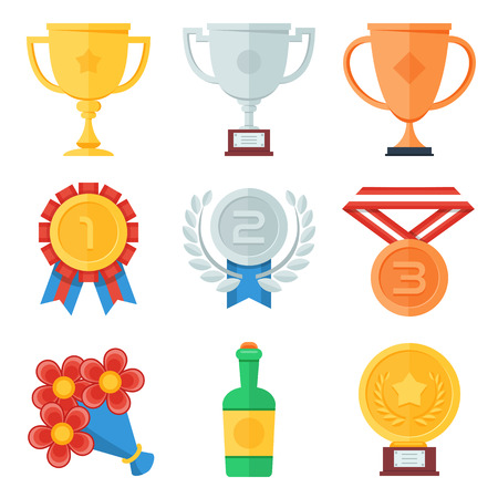 award trophy: Trophy and awards flat icons set.