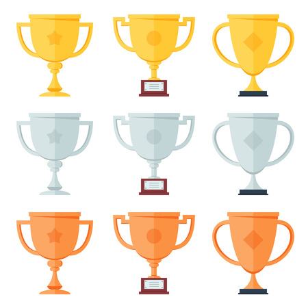gold silver: Gold, silver, bronze trophy in flat icons set.