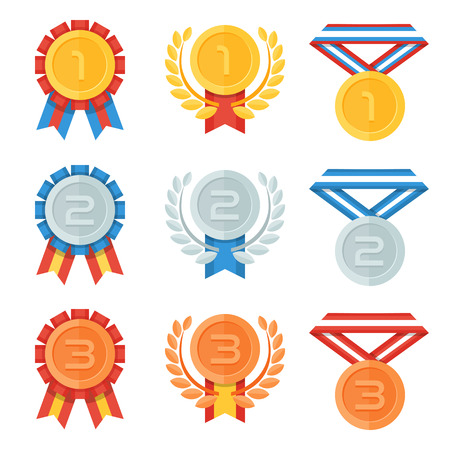 silver ribbon: Gold, silver, bronze medal in flat icons set.