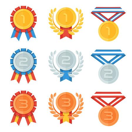 Oro, argento, medaglia di bronzo nella icone piane set. Vettoriali