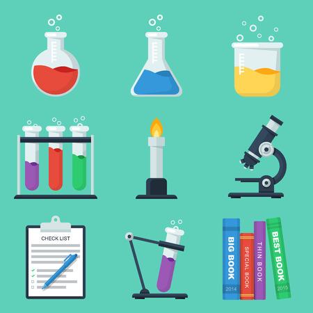 beaker: Set of flat chemistry icons.
