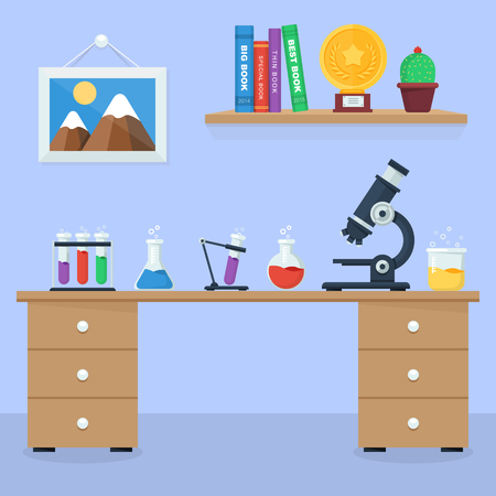 work space: Laboratory work space and workplace concept. Flat design style illustration icons set of science and technology development. Illustration