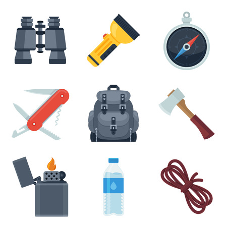 ax: Flat icons set of camping equipment. Illustration