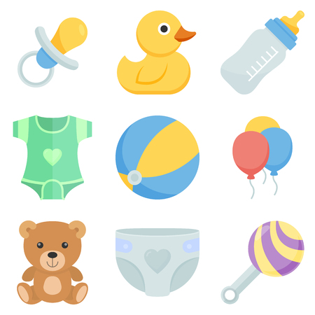 kids toys: Flat icon set kids toys and things. Illustration