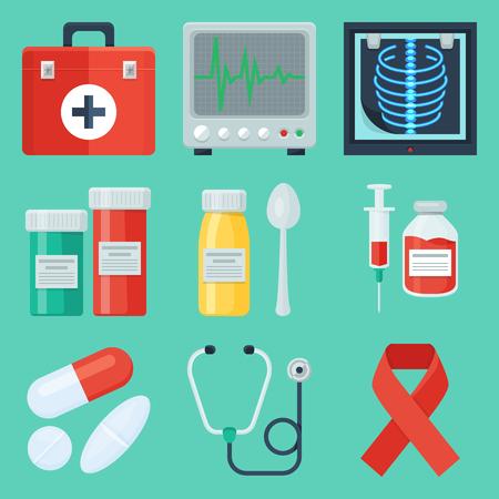 pharmacy pills: Flat medical icon set.