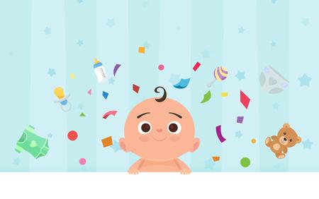 lactante: niño feliz plana con juguetes.