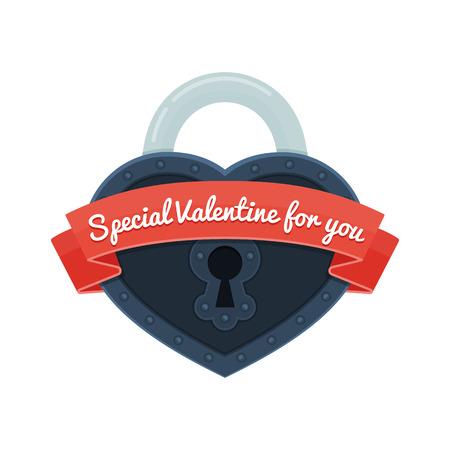 심장 잠금 리본입니다. 발렌타인 데이 대 한 카드입니다.