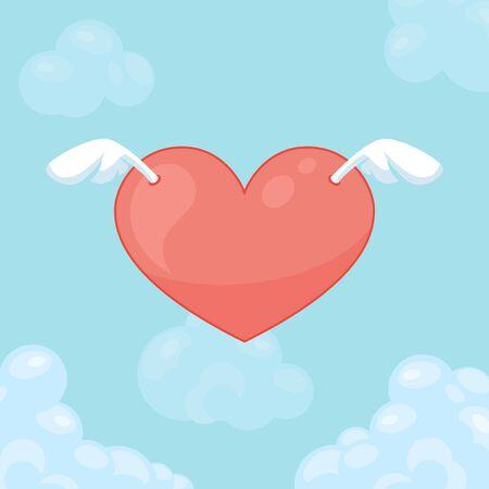 날개와 함께 마음을 비행. 발렌타인 데이 카드입니다.