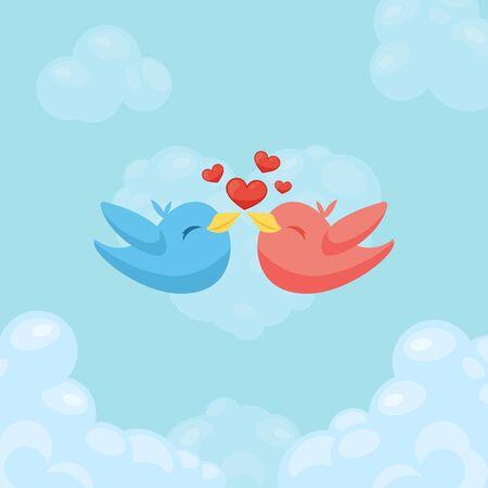 사랑에 새의 커플입니다. 발렌타인 데이 대 한 카드입니다.