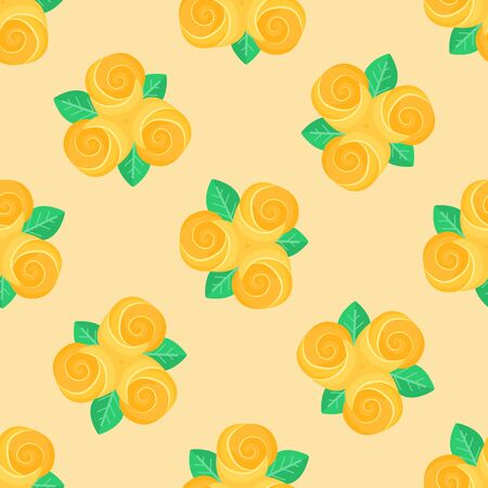 작은 노란색 원활한 배경 장미