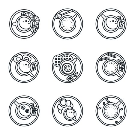 chocolate cookies: Black lineart icon set. Coffee, tea, drinks and cocktails Illustration