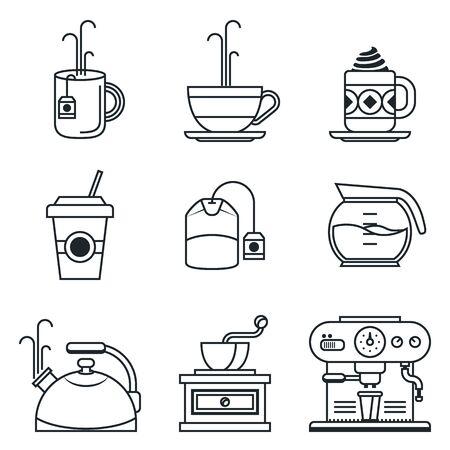블랙 라인 아이콘을 설정합니다. 커피, 차, 컵 및 장치