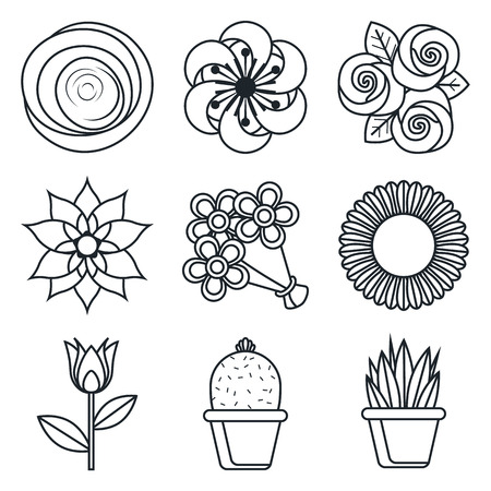 lineart: Black lineart icon set - Flowers icons