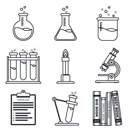 lineart: Black lineart icon set. Chemistry vector icons.