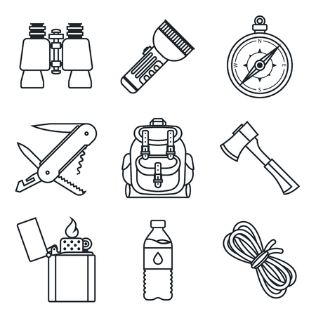 lineart: Black lineart icon set. Camping equipment