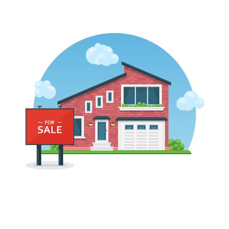 판매를위한 자세한 다채로운 집입니다. 플랫 스타일 모던 코티지