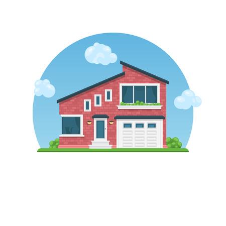 자세한 다채로운 집입니다. 플랫 스타일 모던 코티지 일러스트