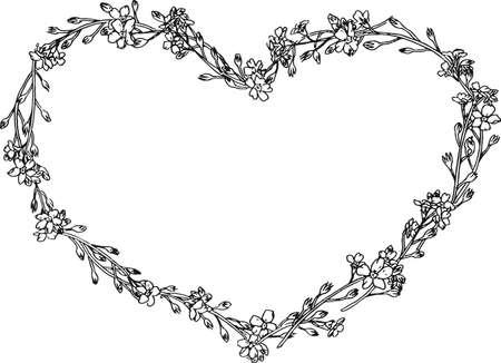 Herz-Kranz mit Hand gezeichneten Blumen. Vektor. Kann für Hochzeit, Einladung, Karte, Ticket, Branding, Boutique-Logo-Label verwendet werden. Vergessen Sie mich nicht. Blumenkranz.