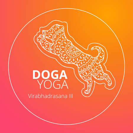 Logo for dog yoga studio.Yoga logo. Doga yoga. Yoga for dogs. Vector yoga illustration. Yoga sticker. Logo for yoga with dog. Illustration