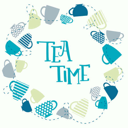 mag: Frame of mags with inscription. Mag wreath. Tea time calligraphic lettering with mags around. Tea card. Tea time.