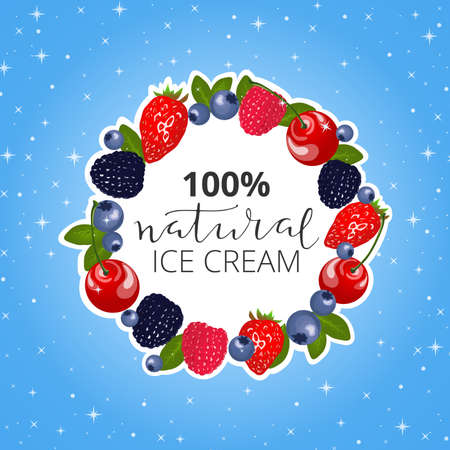 icecream sundae: Fruit frame with text inside. Hand drawn lettering with berries around. Ice cream poster.