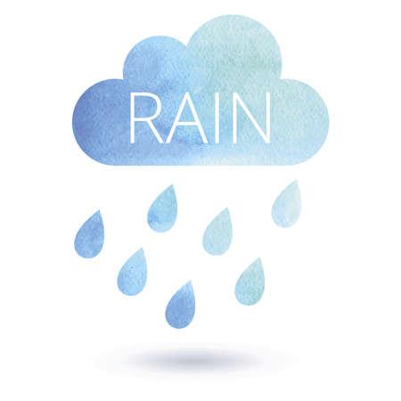 rain cloud: Watercolor rain cloud. Watercolor rainy cloud