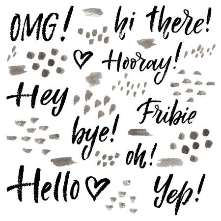 Hand lettering catchwords set. Hello, hey, bye, omg, hooray, fribie, oh, yep, hi there.