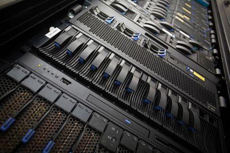 data: Data center servers rack