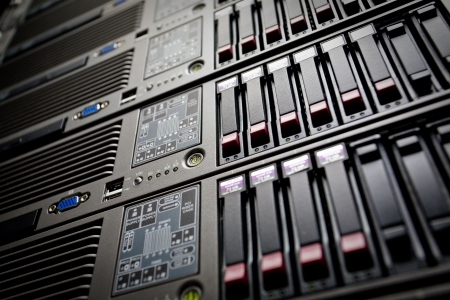 telco: Servers stack with hard drives in a datacenter