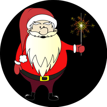 Santa Claus with a sparkler on a black background Illustration